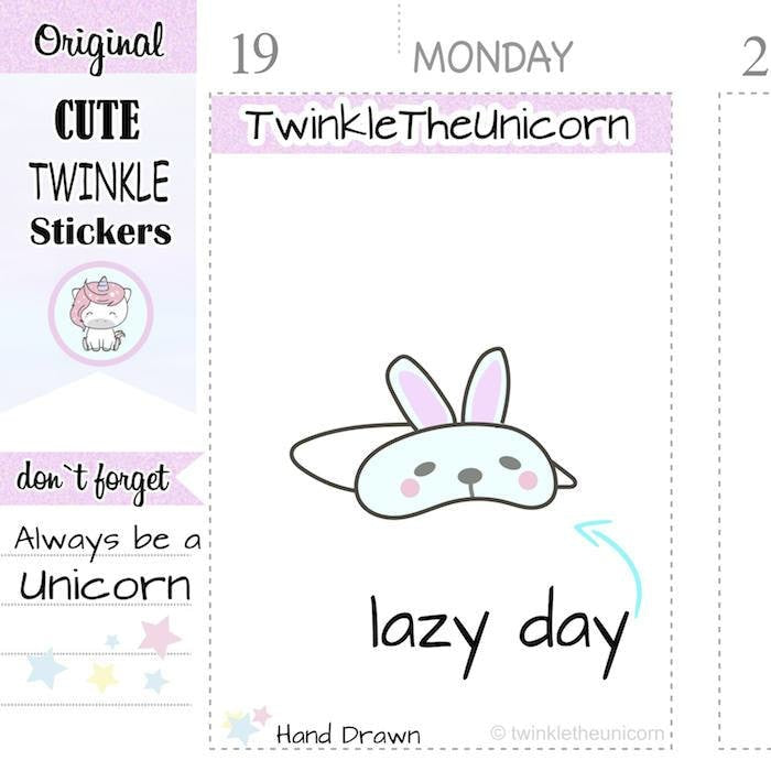 A087 | sleep mask stickers TwinkleTheUnicorn
