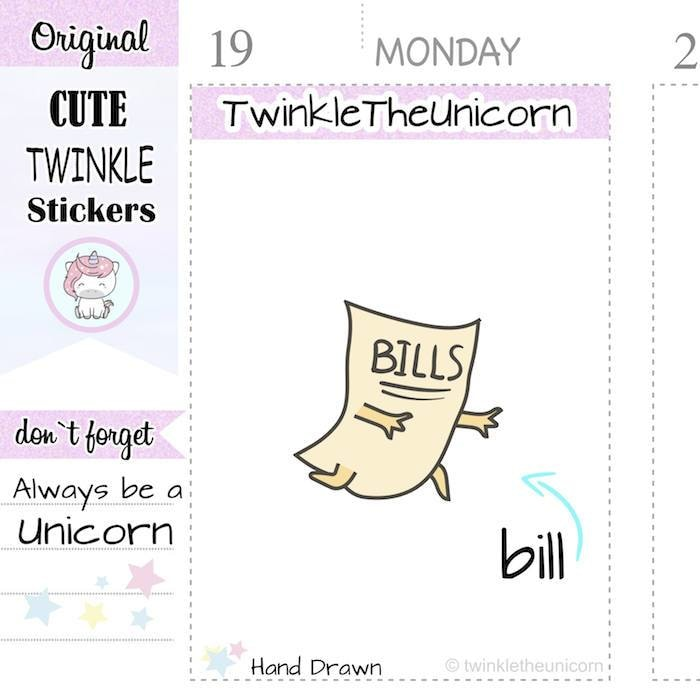 A092| pay bills stickers TwinkleTheUnicorn