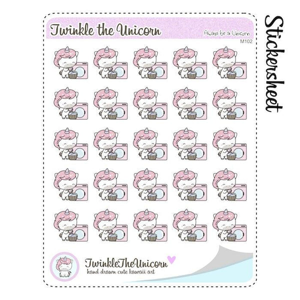 A102| kawaii laundry planner stickers TwinkleTheUnicorn