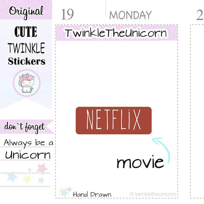 A117 | netflix planner stickers TwinkleTheUnicorn