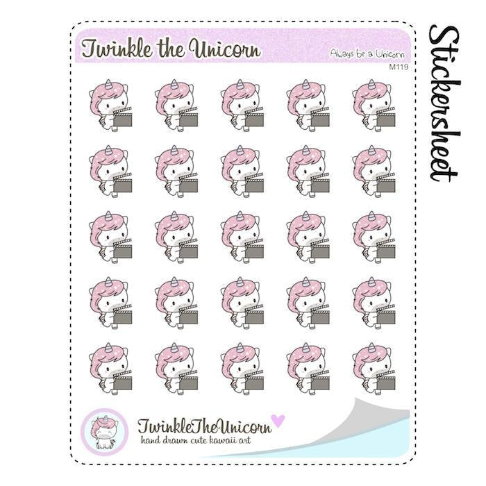 A119 | movie night stickers TwinkleTheUnicorn
