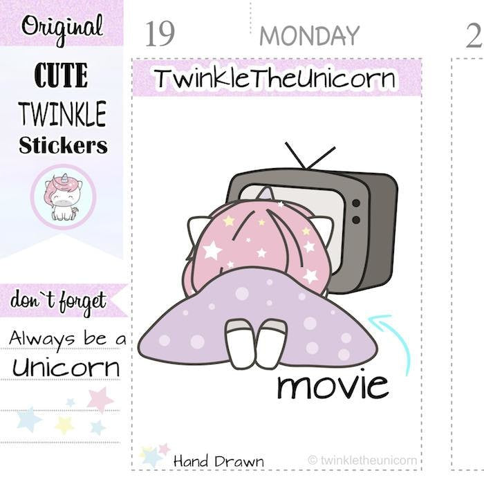 A120 | movie night stickers TwinkleTheUnicorn