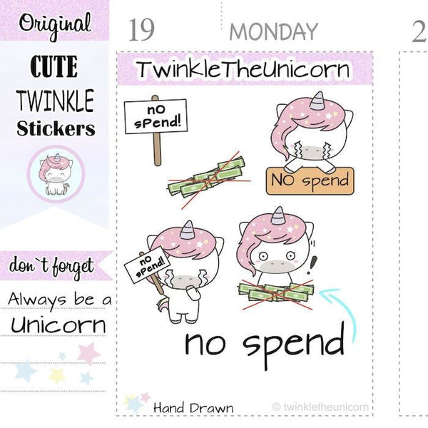 A124 | no spend stickers TwinkleTheUnicorn