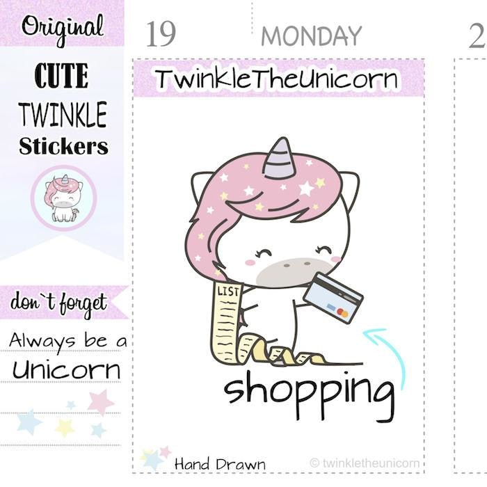 A153 | unicorn shopping stickers TwinkleTheUnicorn