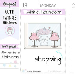 A156 | sale shopping stickers TwinkleTheUnicorn