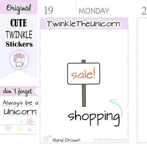 A157 | sale shopping stickers TwinkleTheUnicorn