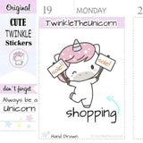 A160 | sale shopping stickers TwinkleTheUnicorn