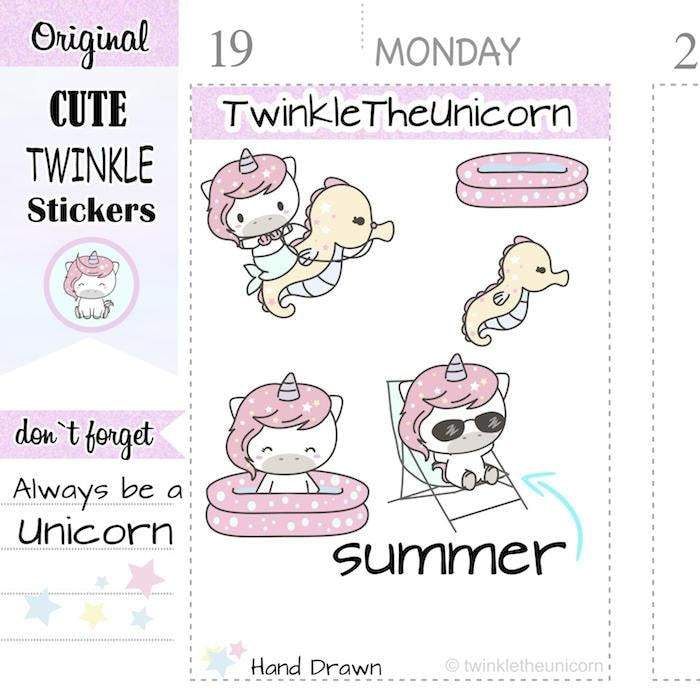 A161 | summer stickers TwinkleTheUnicorn