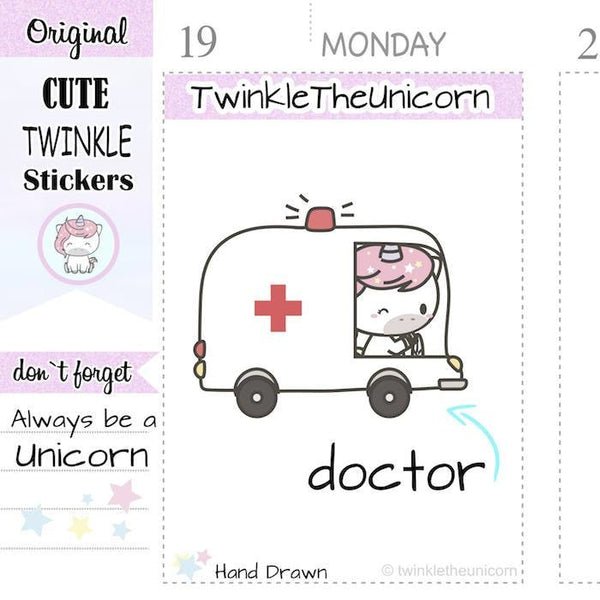 A168 | doctor stickers TwinkleTheUnicorn