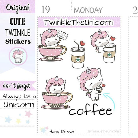 A169| coffee stickers TwinkleTheUnicorn