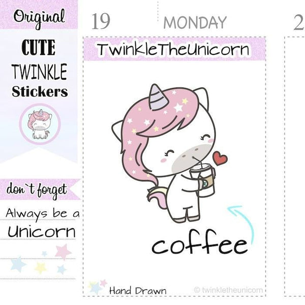 A170| coffee stickers TwinkleTheUnicorn