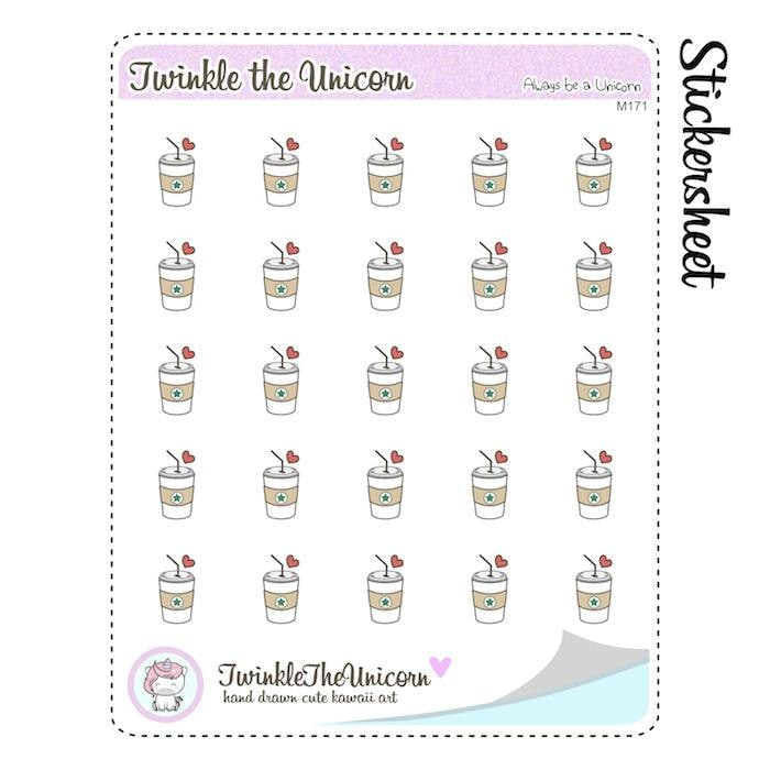 A171| coffee planner stickers TwinkleTheUnicorn
