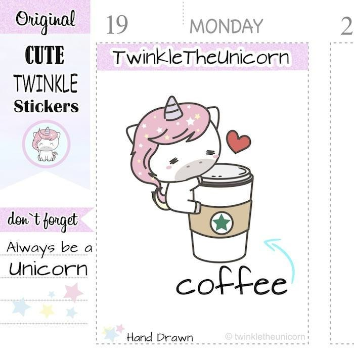 A173| coffee stickers TwinkleTheUnicorn