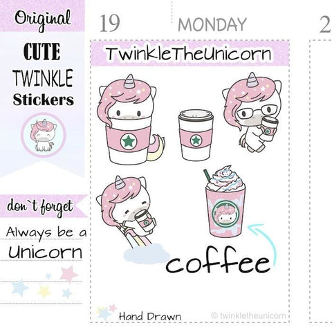 A175 | kawaii coffee stickers TwinkleTheUnicorn