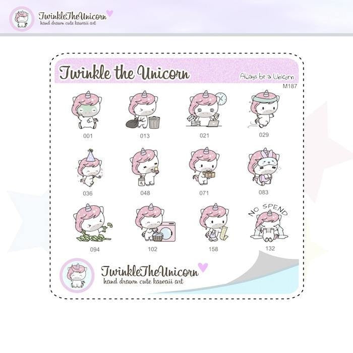 A187 | sampler stickers TwinkleTheUnicorn