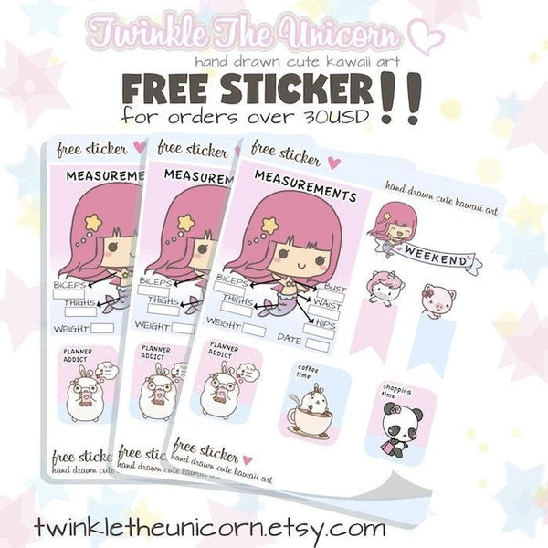 A196 | periode planner stickers TwinkleTheUnicorn