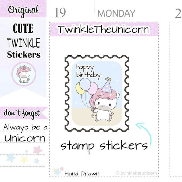 A262 | birthday stamp stickers TwinkleTheUnicorn