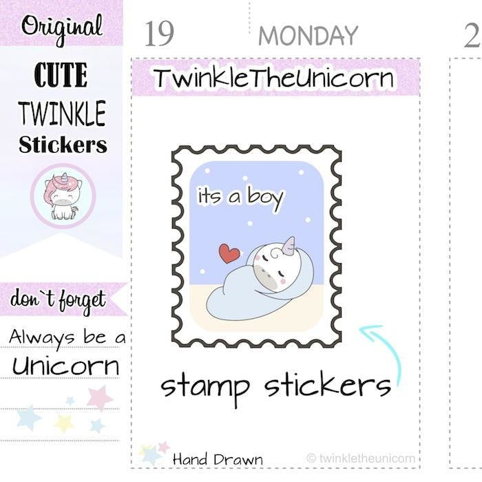 A266 | its a boy stamp stickers TwinkleTheUnicorn