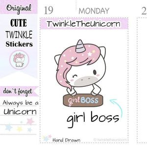 A290 | girl boss planner stickers TwinkleTheUnicorn