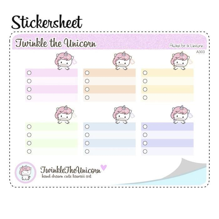 A303 | weekly half box stickers TwinkleTheUnicorn