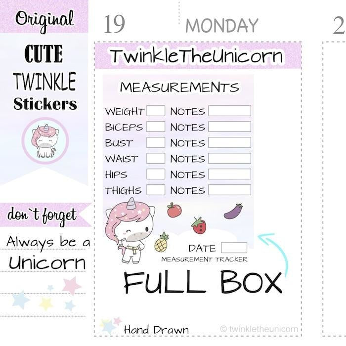 A317 | weight loss planner stickers TwinkleTheUnicorn