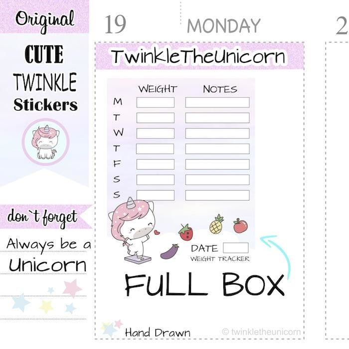 A318 | weight loss planner stickers TwinkleTheUnicorn