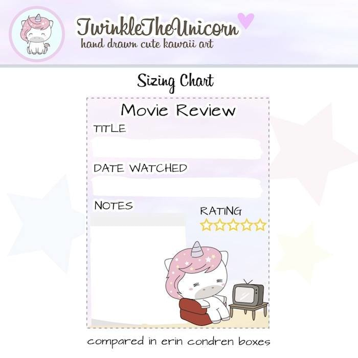 A325 | movie planner stickers TwinkleTheUnicorn
