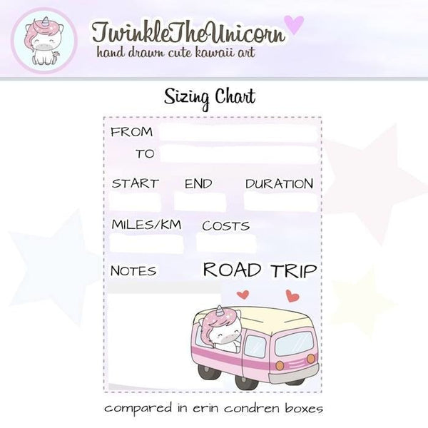 A327 | road trip planner stickers TwinkleTheUnicorn