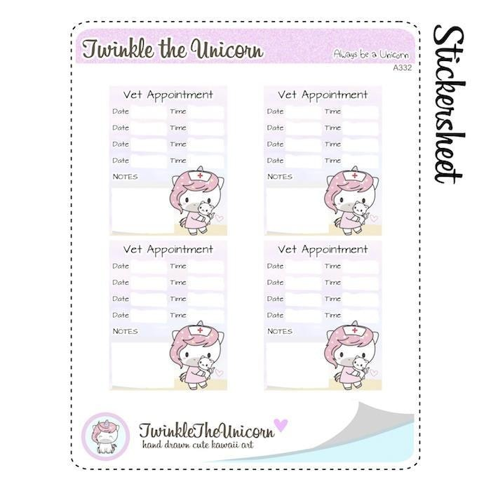 A332 | appointment planner stickers TwinkleTheUnicorn