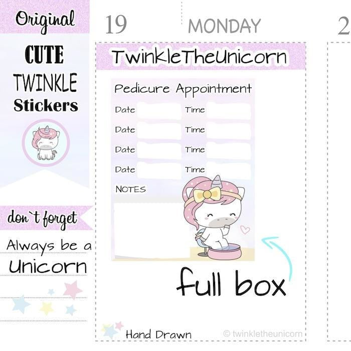 A335 | pedicure appointment planner stickers TwinkleTheUnicorn