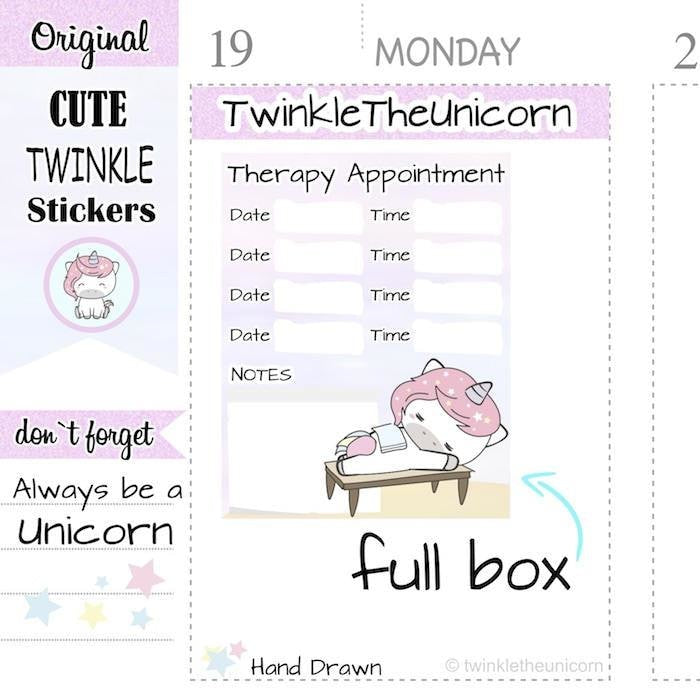 A336 | therapy appointment planner stickers TwinkleTheUnicorn