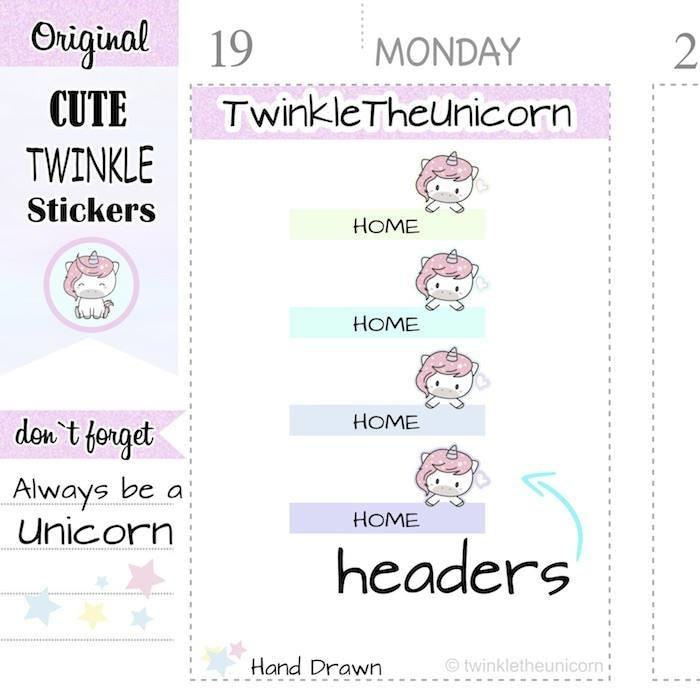 A352 | home headers planner stickers TwinkleTheUnicorn