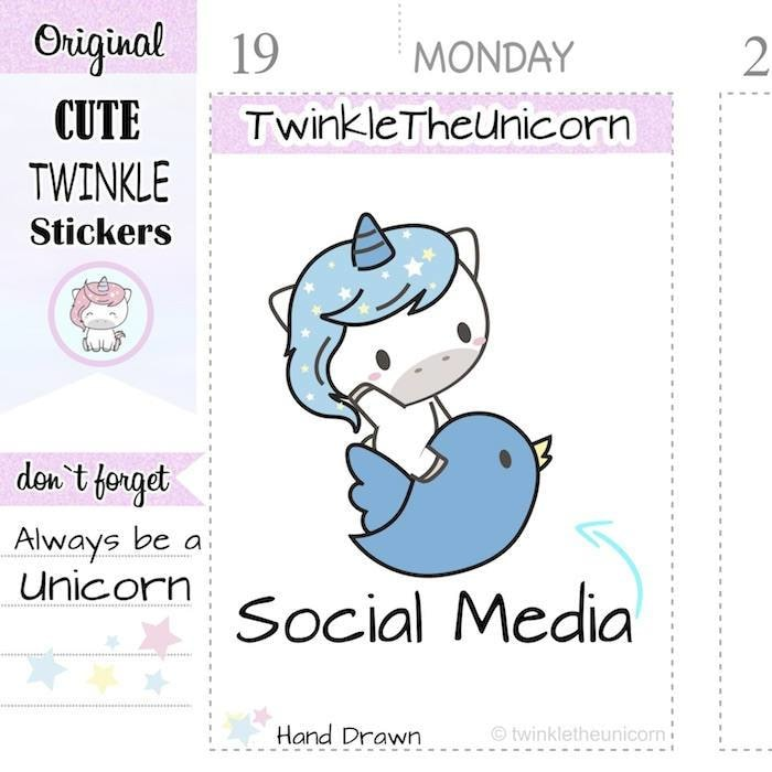 A398 | twitter planner stickers TwinkleTheUnicorn