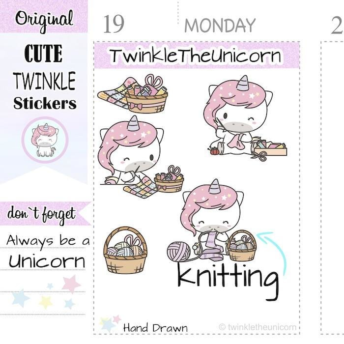 A406 | knitting planner stickers TwinkleTheUnicorn