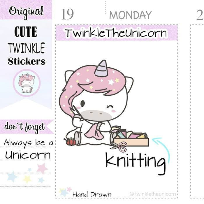 A410 | seving planner stickers TwinkleTheUnicorn