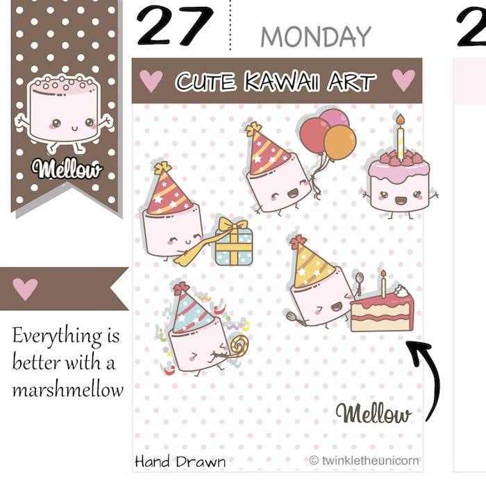 birthday stickers M008 TwinkleTheUnicorn