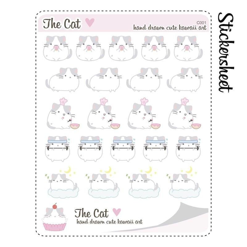 C001 | cat lazy day stickers TwinkleTheUnicorn