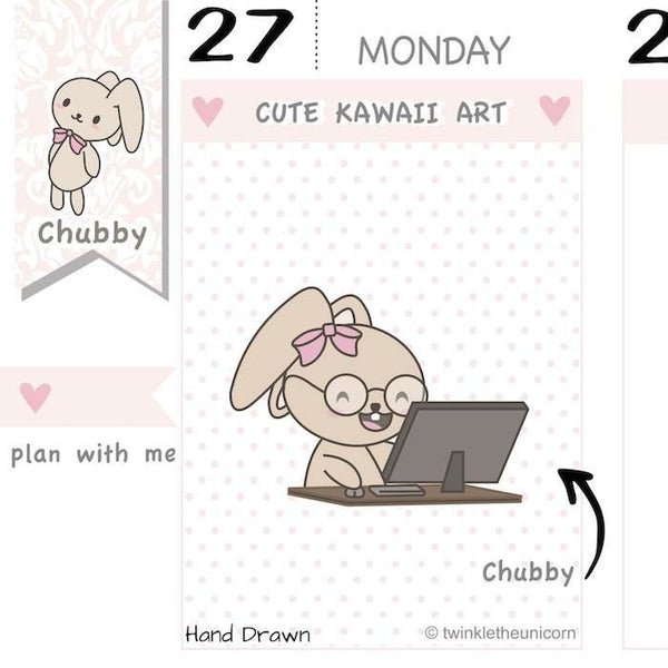 CB027 | Working Desk Planner Stickers TwinkleTheUnicorn