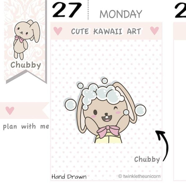 CB046 | Hair Wash Planner Stickers TwinkleTheUnicorn