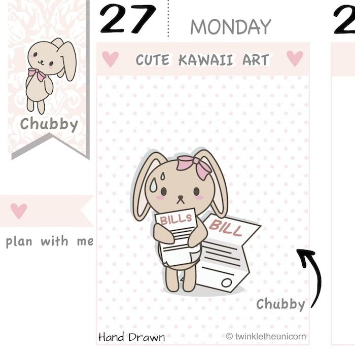 CB047 | Bill Due Planner Stickers TwinkleTheUnicorn