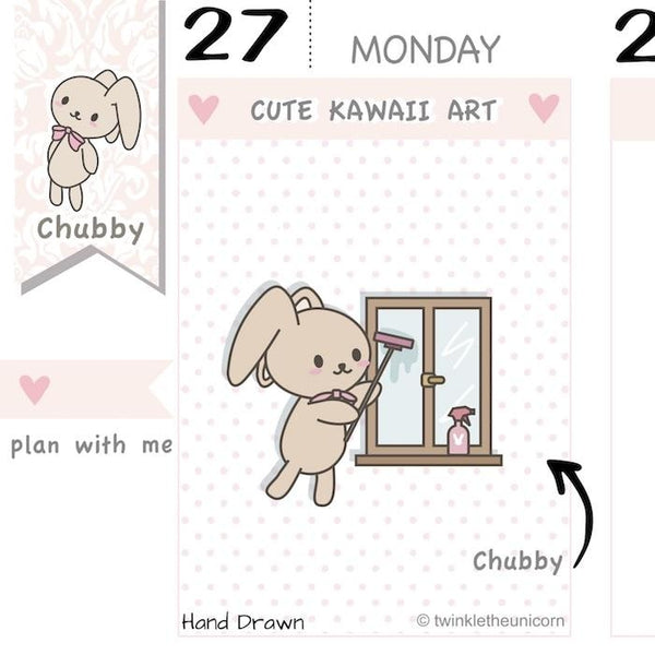 CB063 | Cleaning Windows Planner Stickers TwinkleTheUnicorn