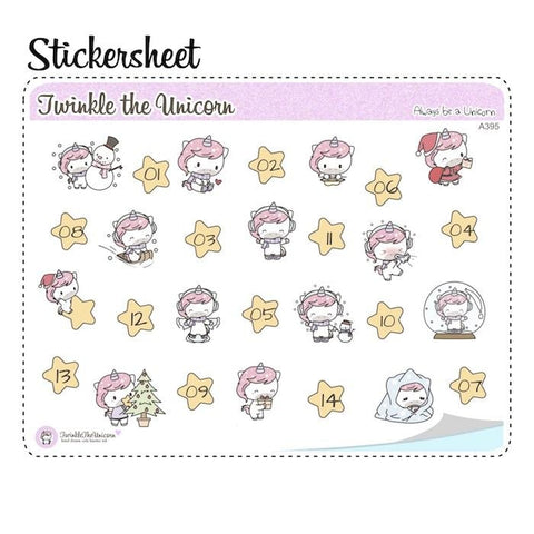 christmas planner stickers A395 TwinkleTheUnicorn