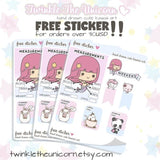 FB032| birthday planner stickers TwinkleTheUnicorn