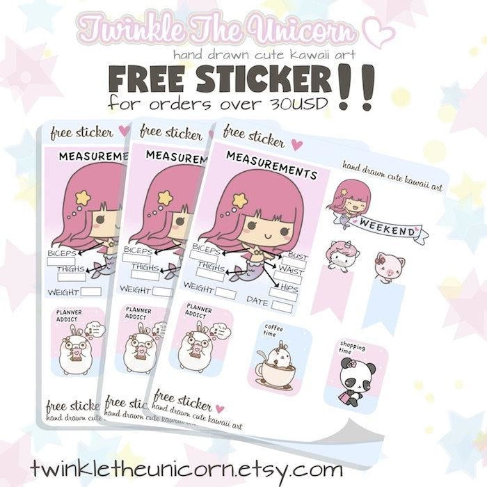 FB064 | kawaii clean up planner stickers TwinkleTheUnicorn