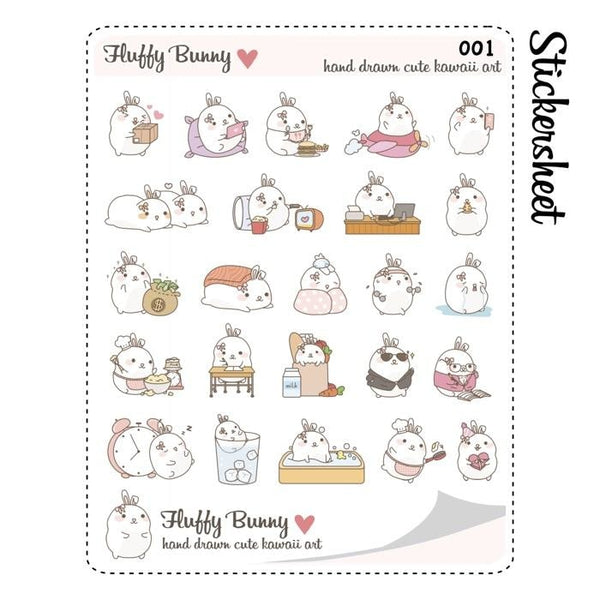 FB085 | fluffy bunny sticker set TwinkleTheUnicorn