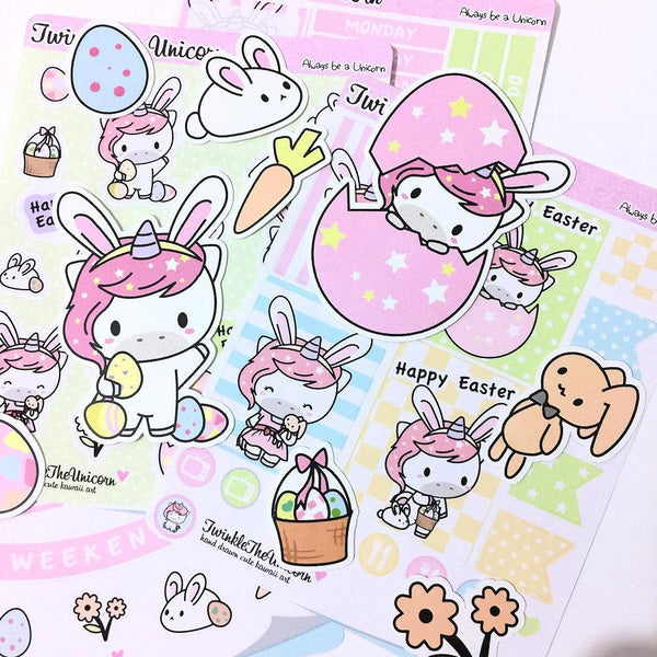 happy easter planner stickers A442 TwinkleTheUnicorn
