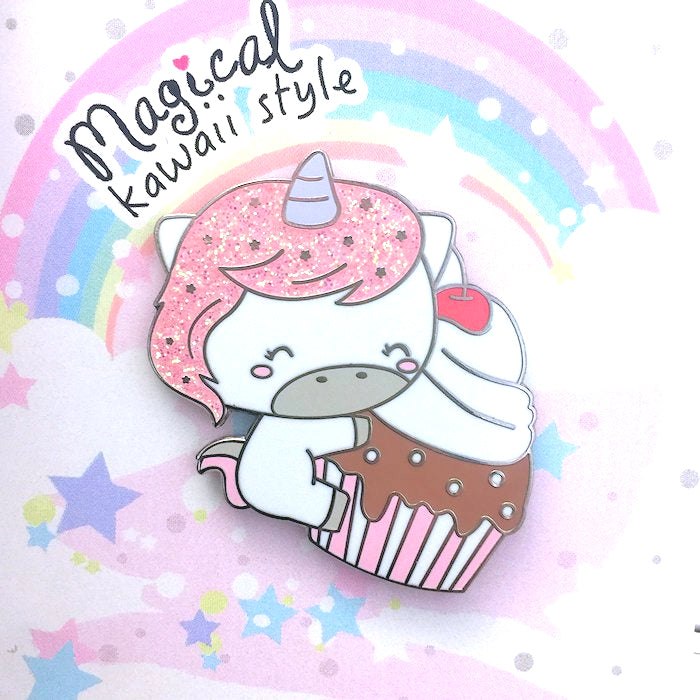 Unicorn Enamel Pin with Glitter Hair and Stars