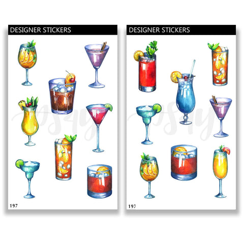 Summer Cocktails 1 Planner Sticker, Drinks, Party, Beach, Alcohol 197