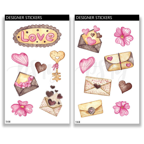 Love Journal Stickers, Letters, Set, Valentines, Day, Romance, Hearts, Flowers, Floral, Pink, Bullet Journal, Bujo 144