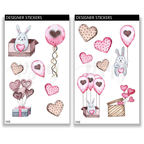 Stickers, Watercolor, Valentines, Day, Set, Kit, Love, Romance, Bunny, Bullet Journal, Bujo, Hand Drawn, Planning, Notebook, Hearts 142
